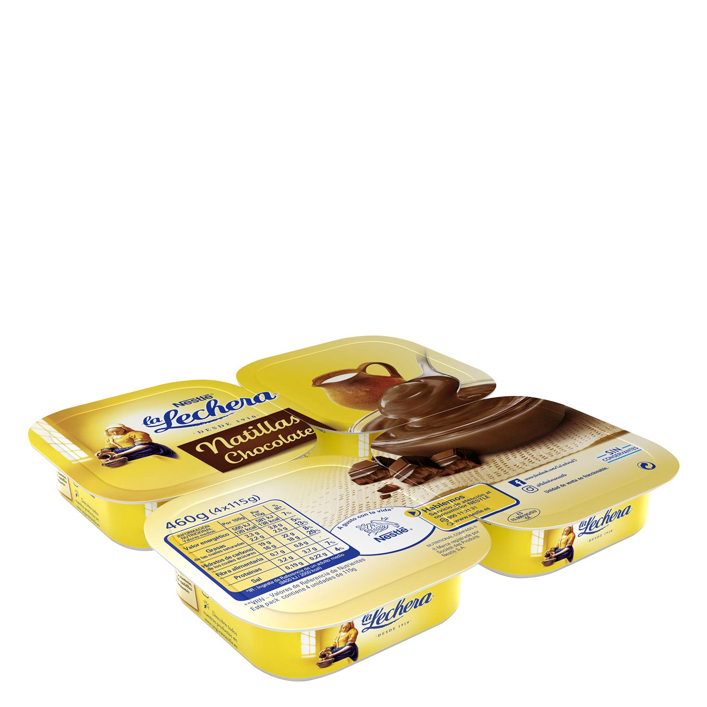 Natillas de chocolate Nestlé - La Lechera pack de 4 unidades de 115 g.