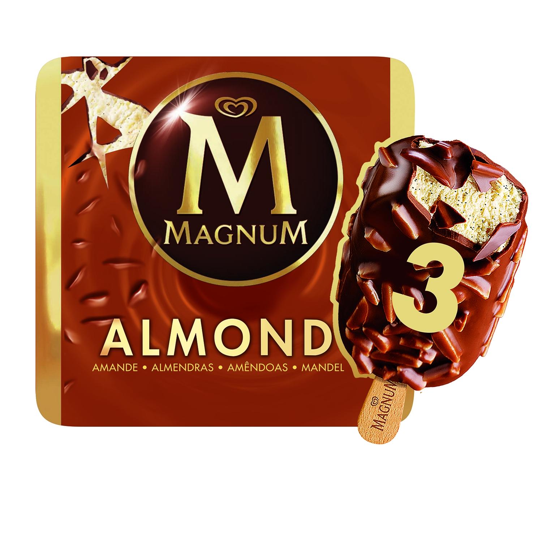 Bombón helado Almond Magnum sin gluten pack de 3 unidades de 110 g.