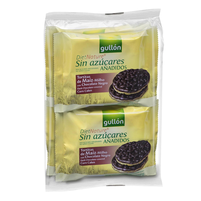 Tortitas de maíz con chocolate negro sin azúcar Gullón 100 g.