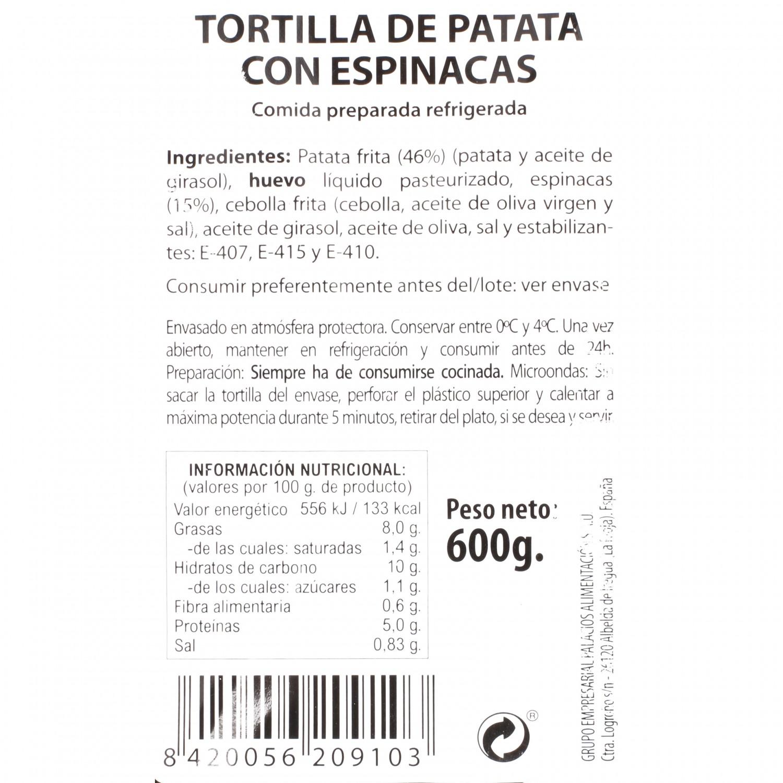 Tortilla fresca con espinacas Palacios 600 g - 3