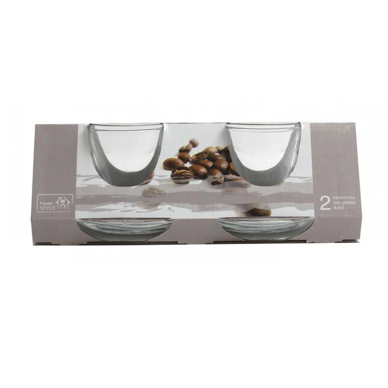 Set 2 Tazas café de Vidrio HOME STYLE Roma 9.5 cl -  Transparente