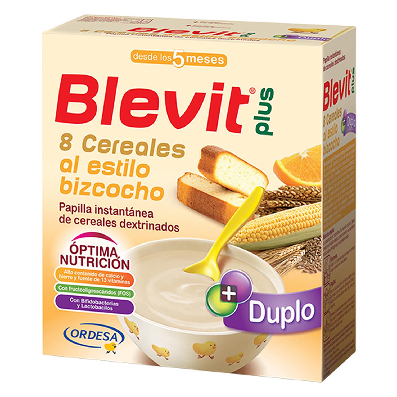 Papilla de 8 cereales al estilo bizcocho con naranja Blevit plus 600 g.