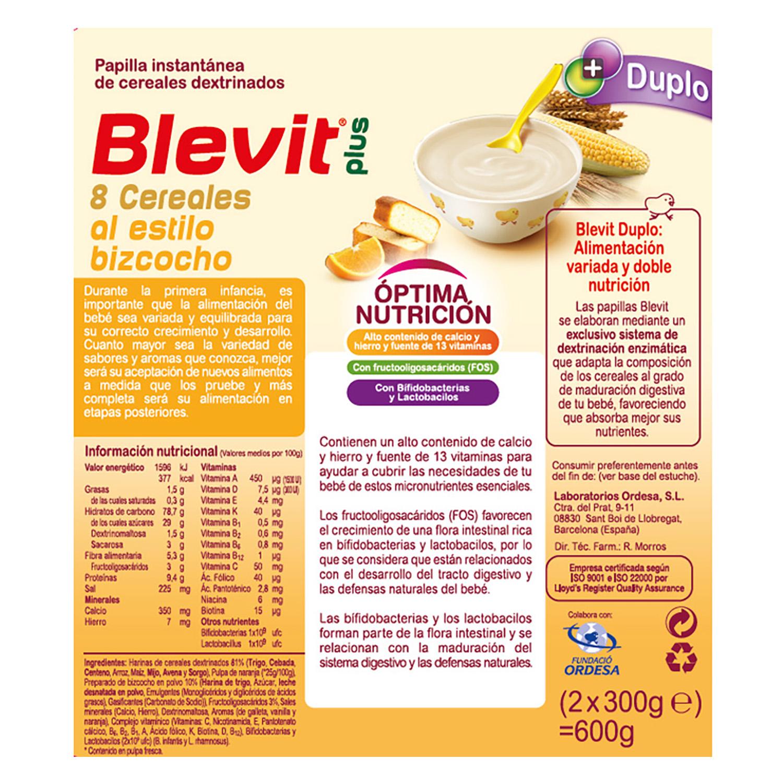 Papilla de 8 cereales al estilo bizcocho con naranja Blevit plus 600 g. -