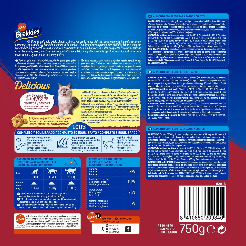 Brekkies Pienso para Gato  Delicious selección de aves y verdura 750 gr - 2
