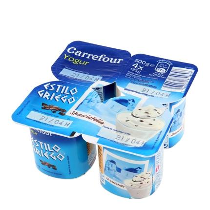 Yogur estilo griego de stracciatella Carrefour pack de 4 unidades de 125 g.