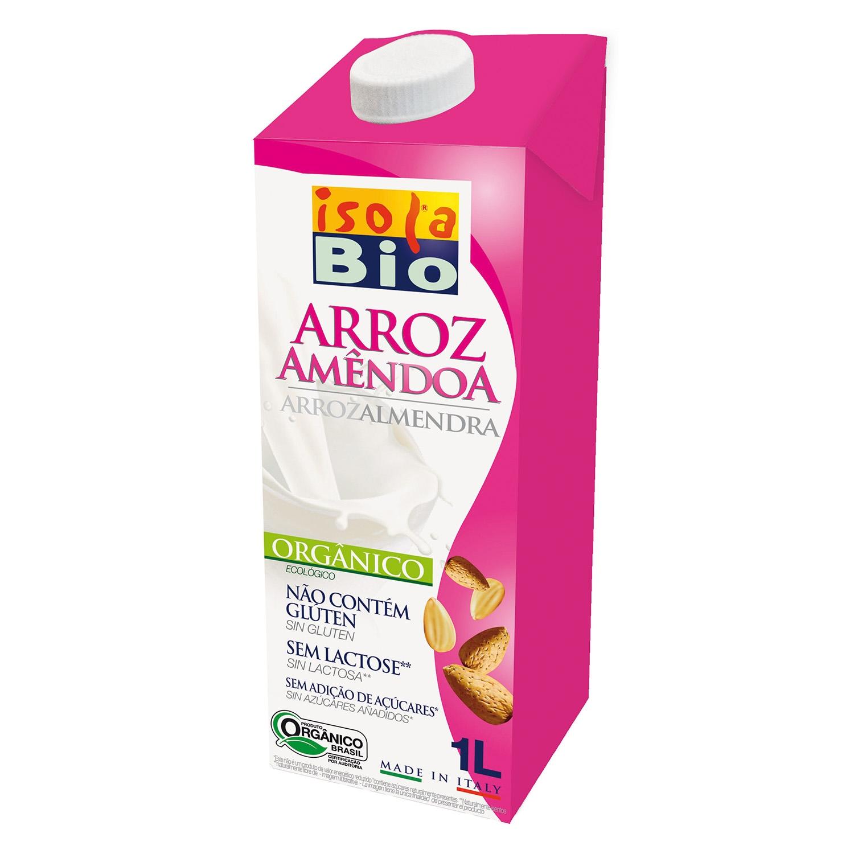 Bebida de arroz y almendra ecológica Isola Bio sin gluten brik 1 l.