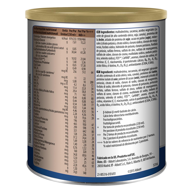 Complemento alimenticio con proteína y vitaminas de chocolate Ensure 400 g. -