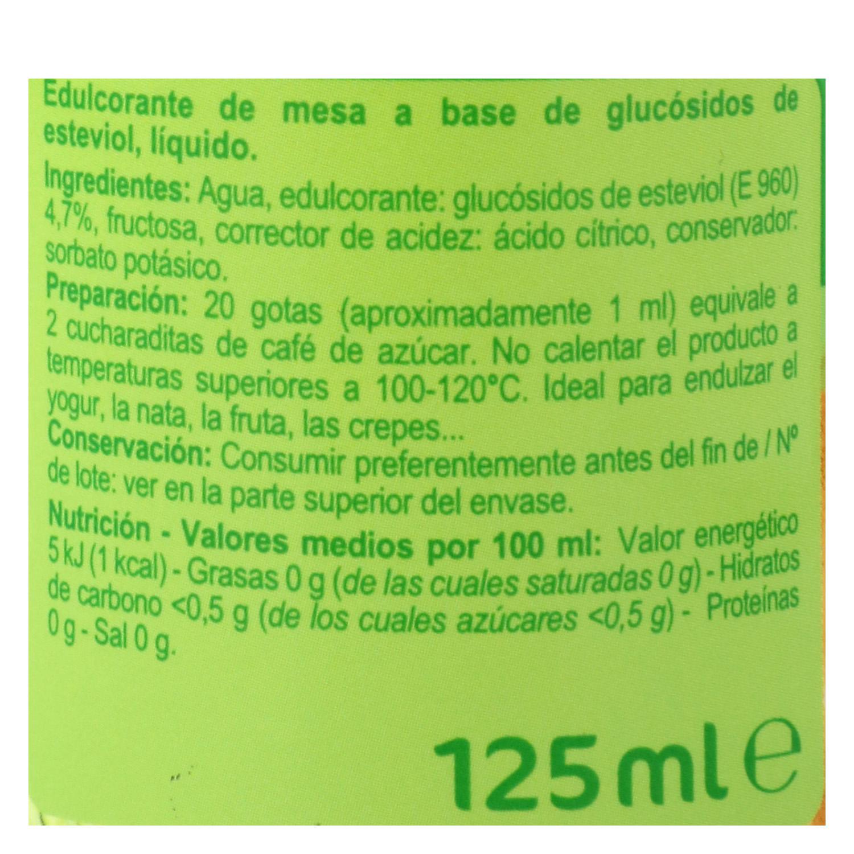 Edulcorante líquido con extracto de stevia Carrefour 125 ml. -