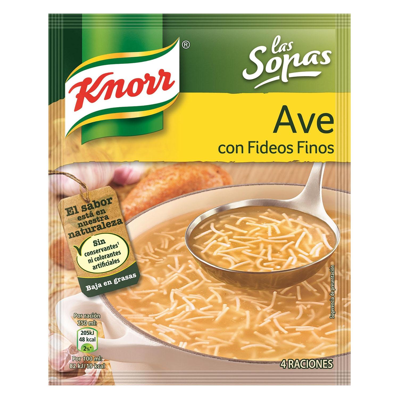 Sopa de ave con fideos finos Knorr 61 g.