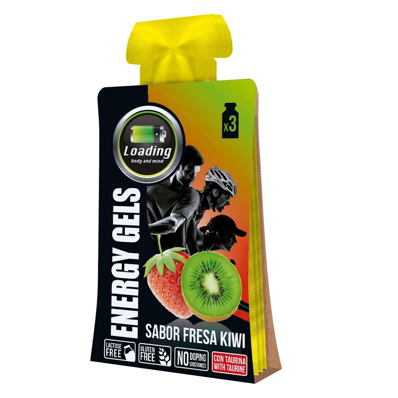 Gel energético sabor fresa y kiwi Loading pack de 3 bolsitas de 30 g.