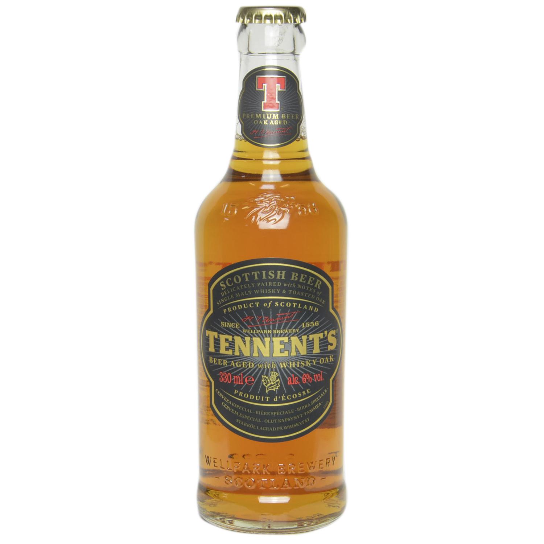 Cerveza Tennent's escocesa con whisky oak botella 33 cl.