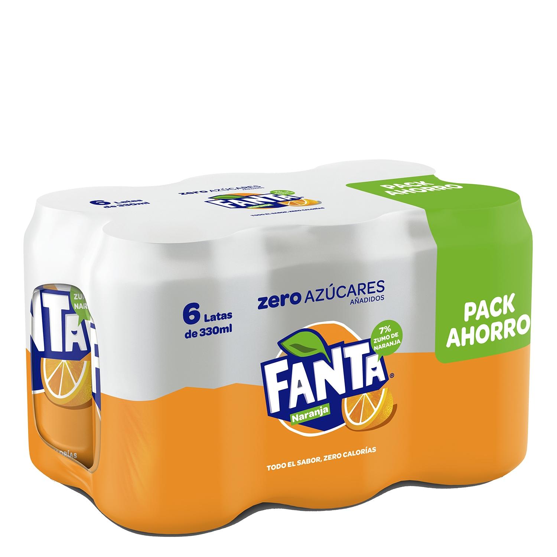Refresco de naranja Fanta con gas zero pack de 6 latas de 33 cl.