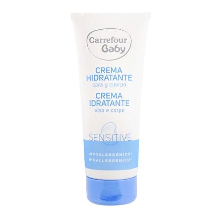 Crema hidratante cara y cuerpo para pieles sensibles Carrefour Baby 200 ml.