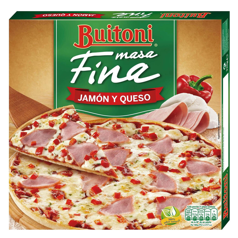 Pizza jamón y queso masa fina Buitoni 325 g.