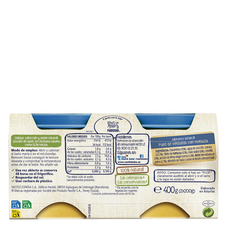 Tarrito de verduritas de la huerta con filete de merluza Nestlé sin gluten pack de 2 unidades de 200 g. -