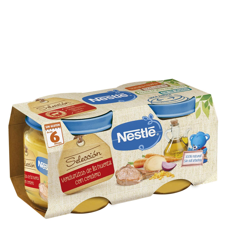 Tarrito de verduritas de la huerta con cordero Nestlé sin gluten pack de 2 unidades de 200 g.