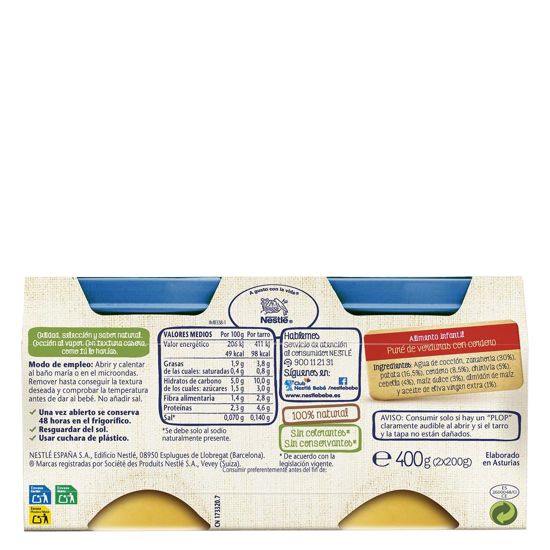 Tarrito de verduritas de la huerta con cordero Nestlé sin gluten pack de 2 unidades de 200 g. -