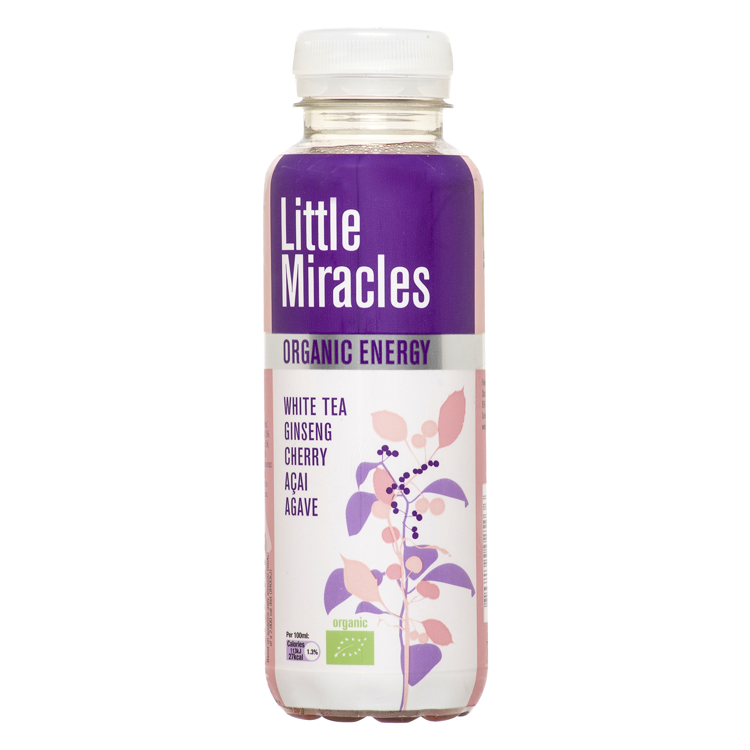 Refresco de té blanco ecológico Little Miracles sabor cereza botella 33 cl.