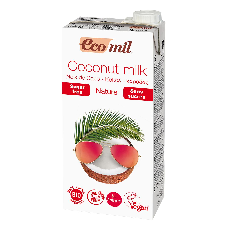 Bebida de coco ecológica Ecomil sin gluten sin azúcar brik 1 l.