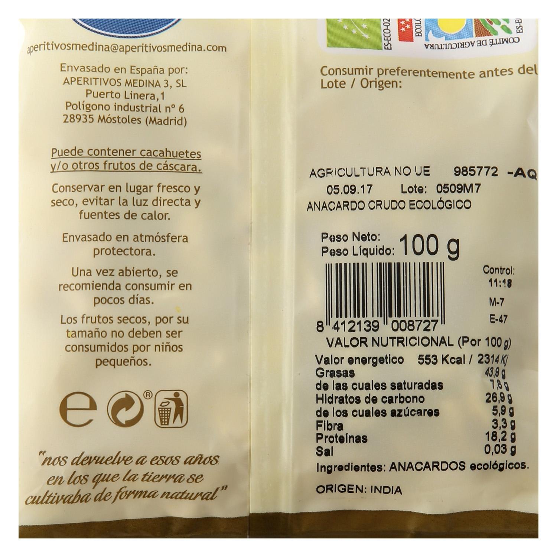 Anacardos crudos ecológicos Medina 100 g. -