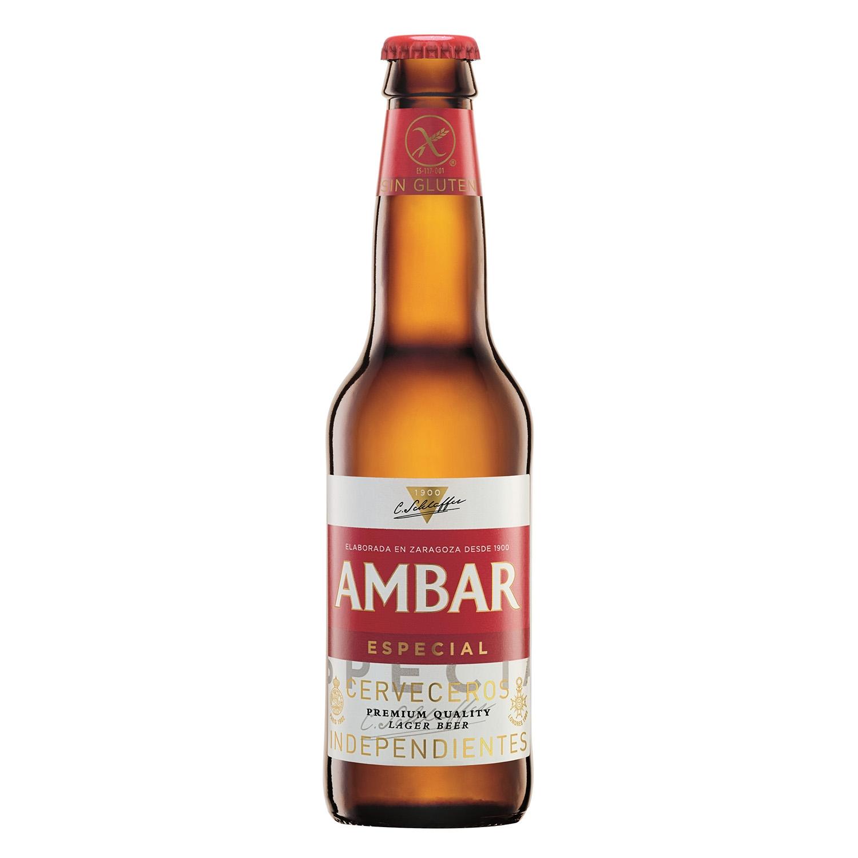 Cerveza Ambar Lager especial botella 33 cl.