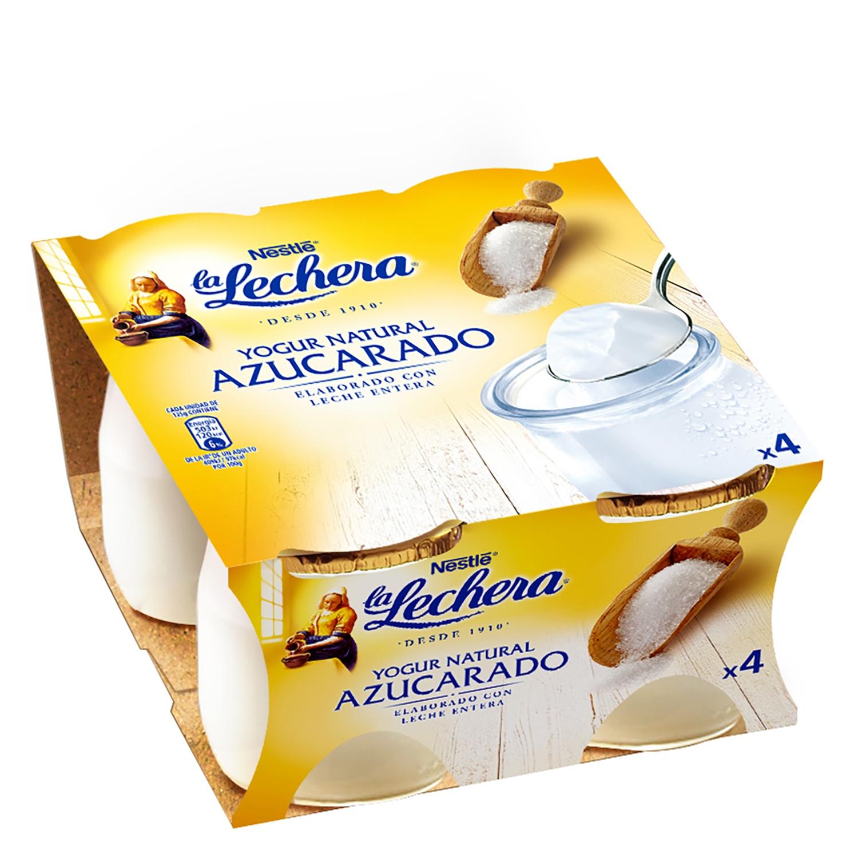 Yogur azucarado natural Nestlé La Lechera pack de 4 unidades de 125 g.