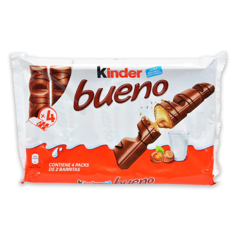 Barritas de chocolate con leche y crema de avellana Kinder Bueno 4 ud.