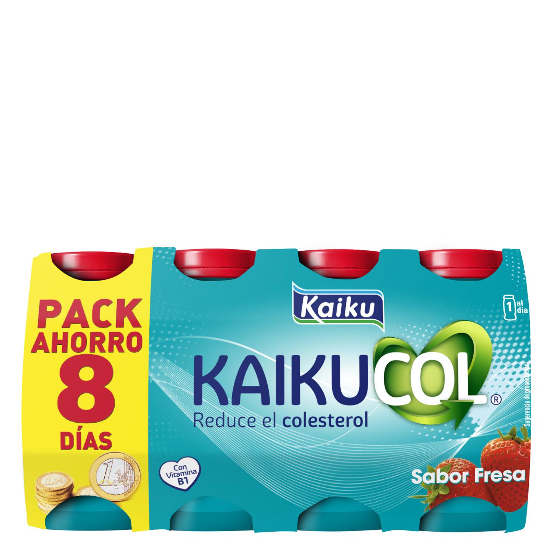 Yogur líquido de fresa Kaiku Benecol pack de 8 unidades de 65 g.