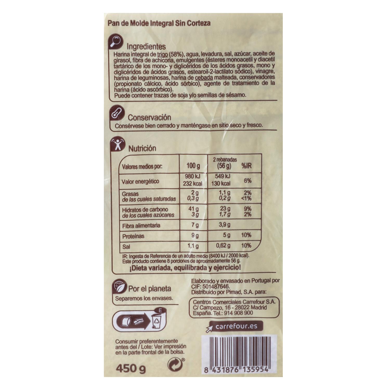 Pan integral sin corteza Carrefour 450 g. -
