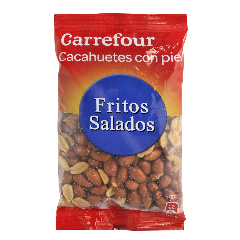 Cacahuetes fritos y salados con piel Carrefour 200 g.