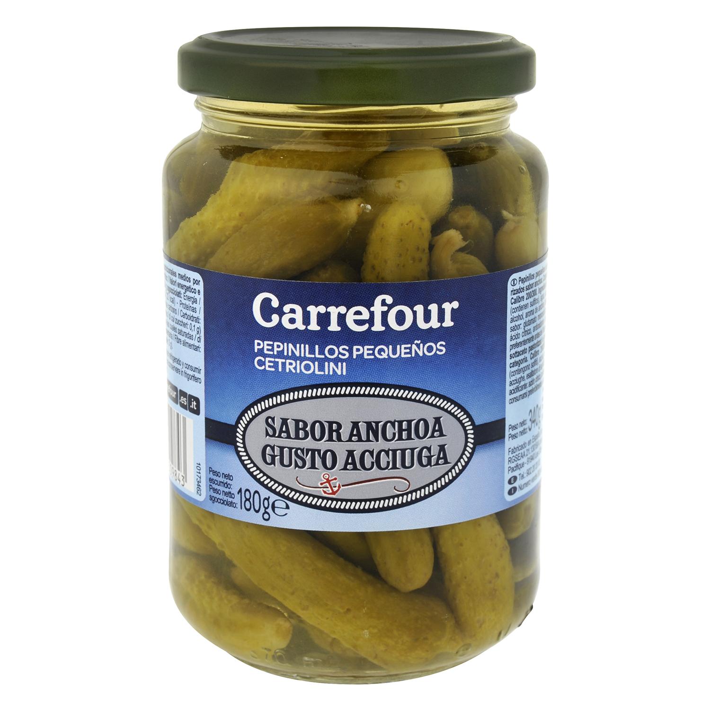 Pepinillos sabor anchoa Carrefour 180 g.