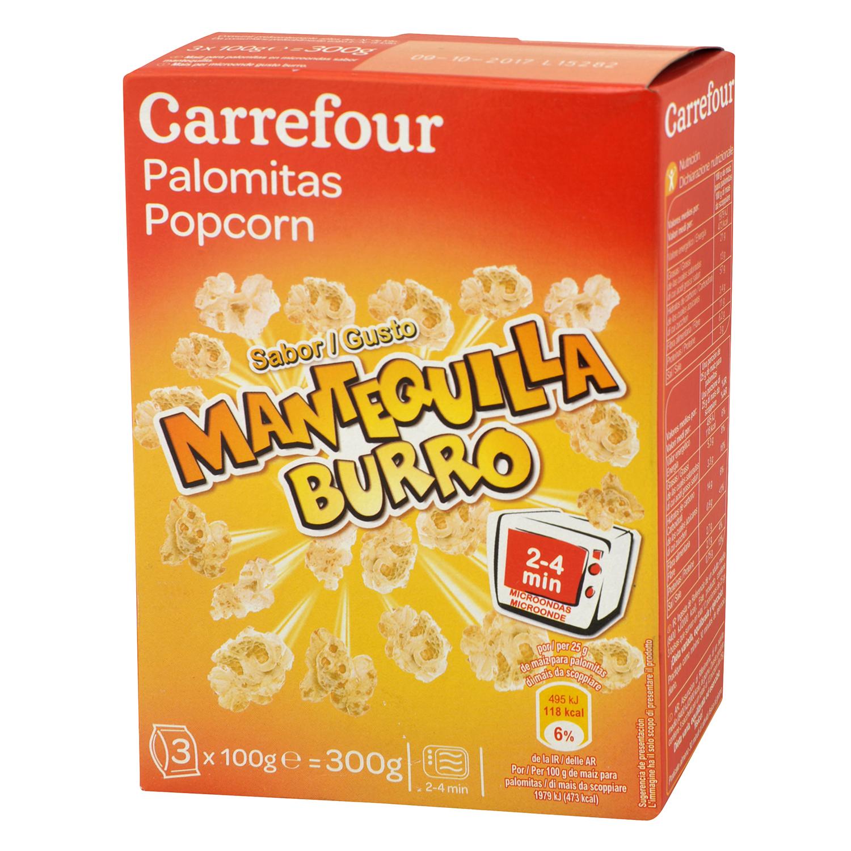 Palomitas sabor mantequilla para microondas Carrefour pack de 3 bolsas de 100 g.