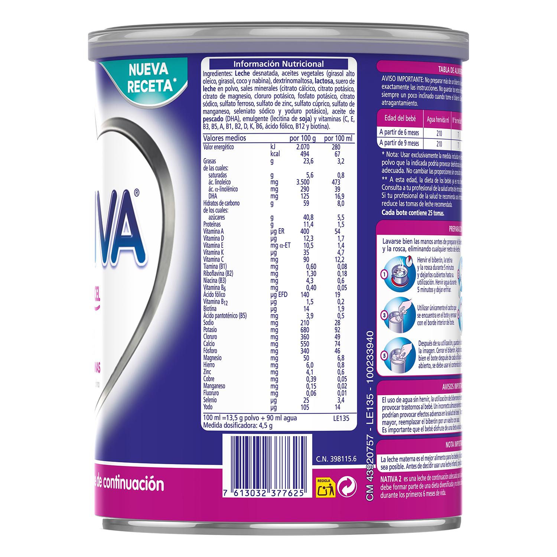 Leche infantil de continuación desde 6 meses en polvo Nestlé Nativa Proexcel lata 800 g. - 3