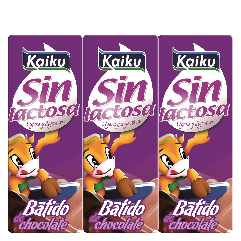 Batido de chocolate Kaiku sin lactosa pack de 3 briks de 200 ml.