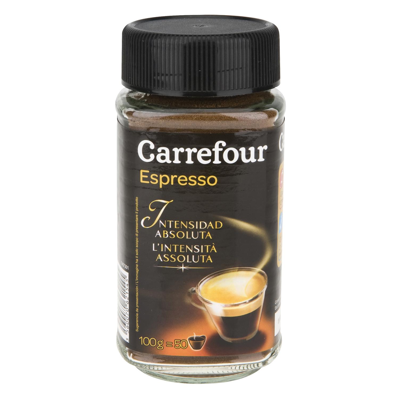Café soluble natural espresso intenso Carrefour 100 g.