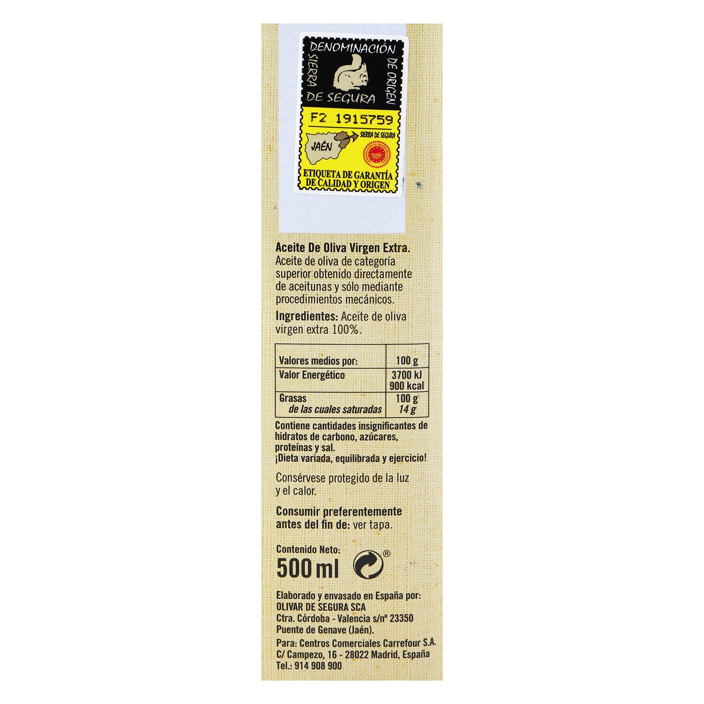 Aceite de oliva virgen extra De Nuestra Tierra D.O Sierra de Segura 50 cl. -