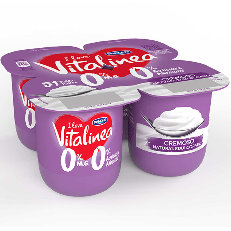 Yogur desnatado cremoso edulcorado natural Danone Vitalinea pack de 4 unidades de 110 g.