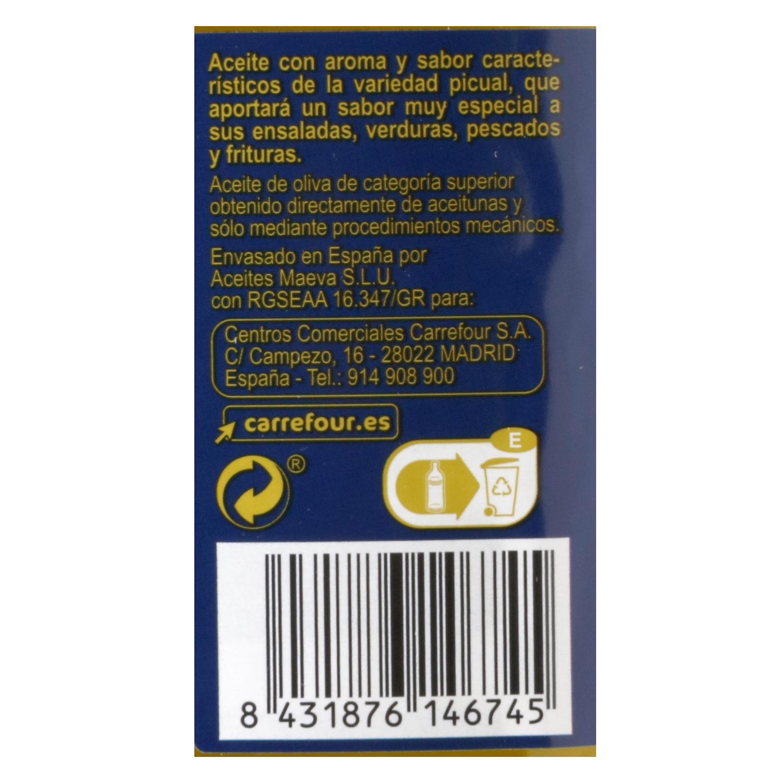 Aceite de oliva virgen extra picual Carrefour 1 l. -