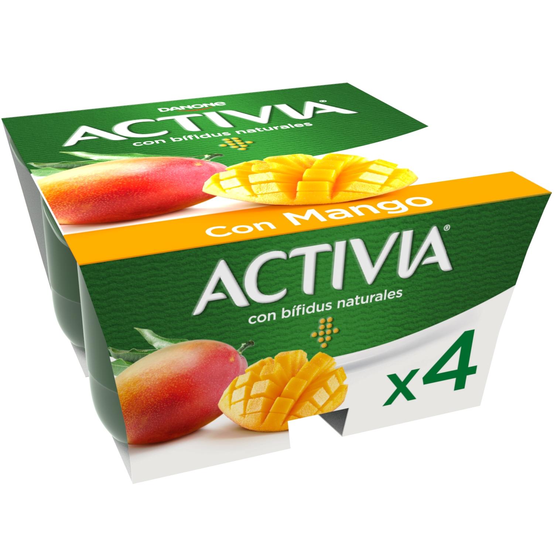 Yogur bífidus con mango Danone Activia pack de 4 unidades de 125 g.