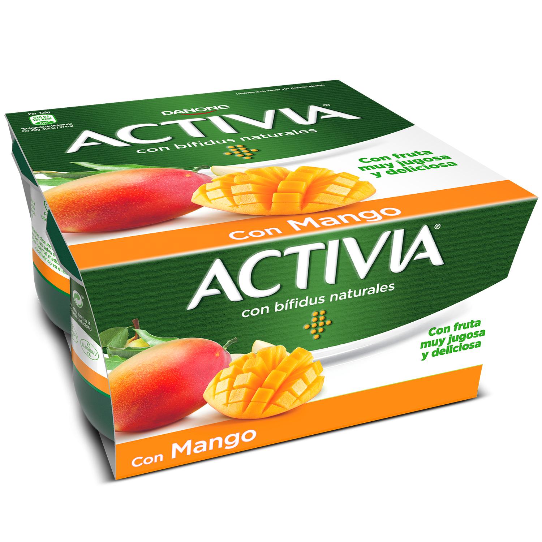 Yogur bífidus con mango Danone Activia pack de 4 unidades de 125 g. -