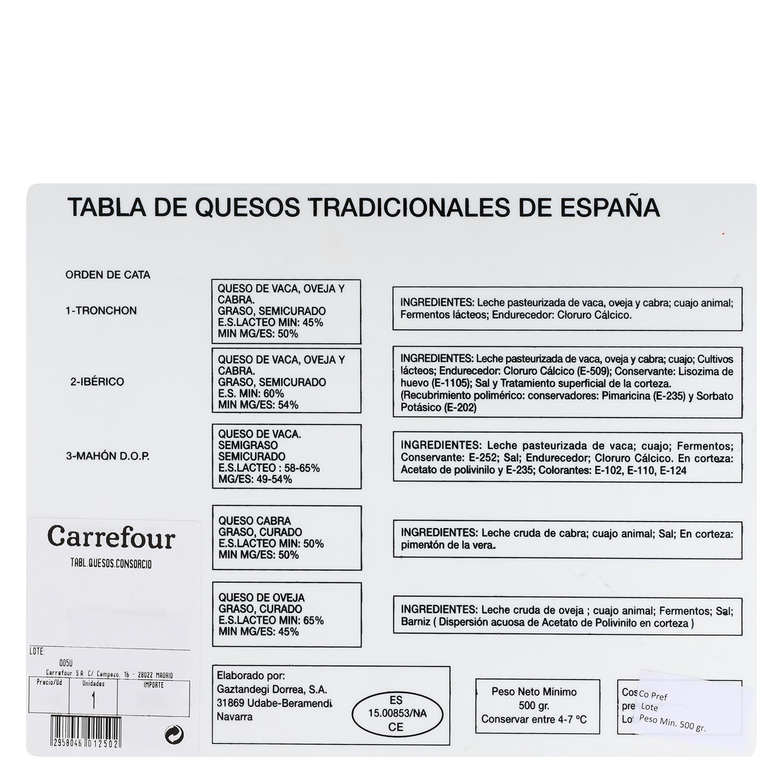 Tabla de quesos surtidos nacionales D.O.: tronchón, ibérico, Villuercas, Oveja, y Mahón, El Consorcio de Quesos 500 g - 2
