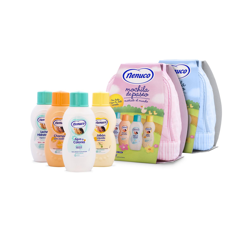Mochila Azul para Bebé (leche hidratante, champú, colonia y jabón) Nenuco 1 ud. -