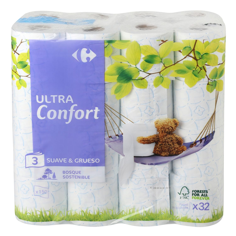 Papel higiénico 3 capas Carrefour 32 rollos.