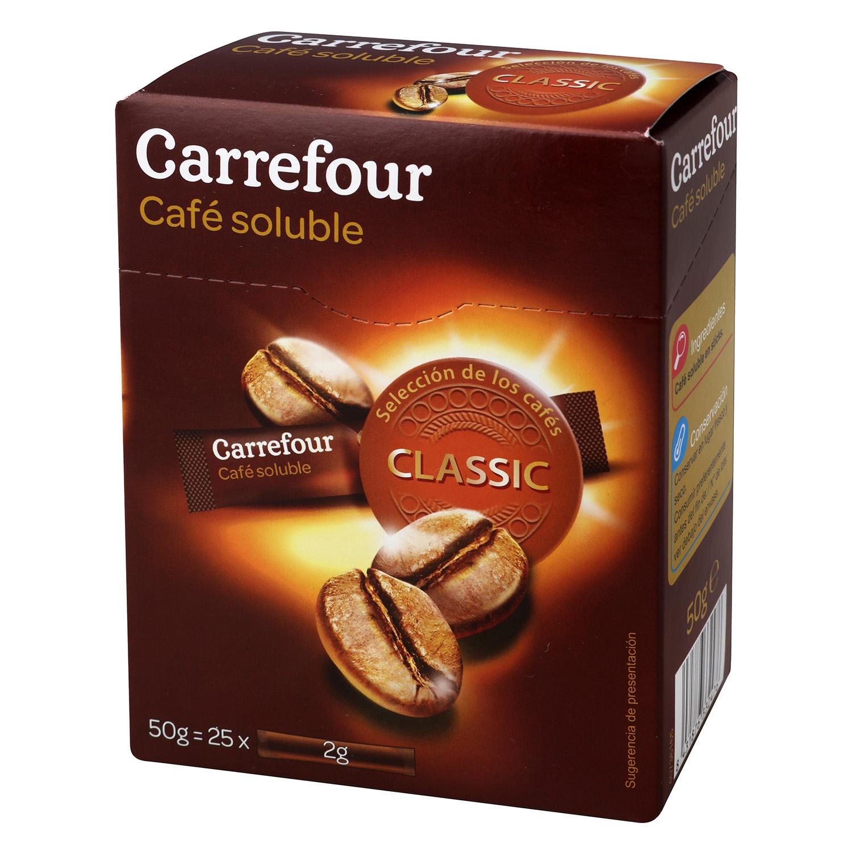 Café soluble classic en sobres Carrefour 25 unidades de 2 g.