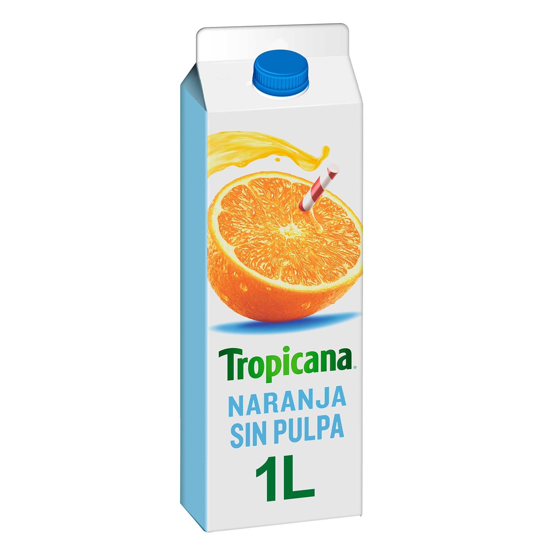 Zumo de naranja exprimido Tropicana sin pulpa brick 1 l.