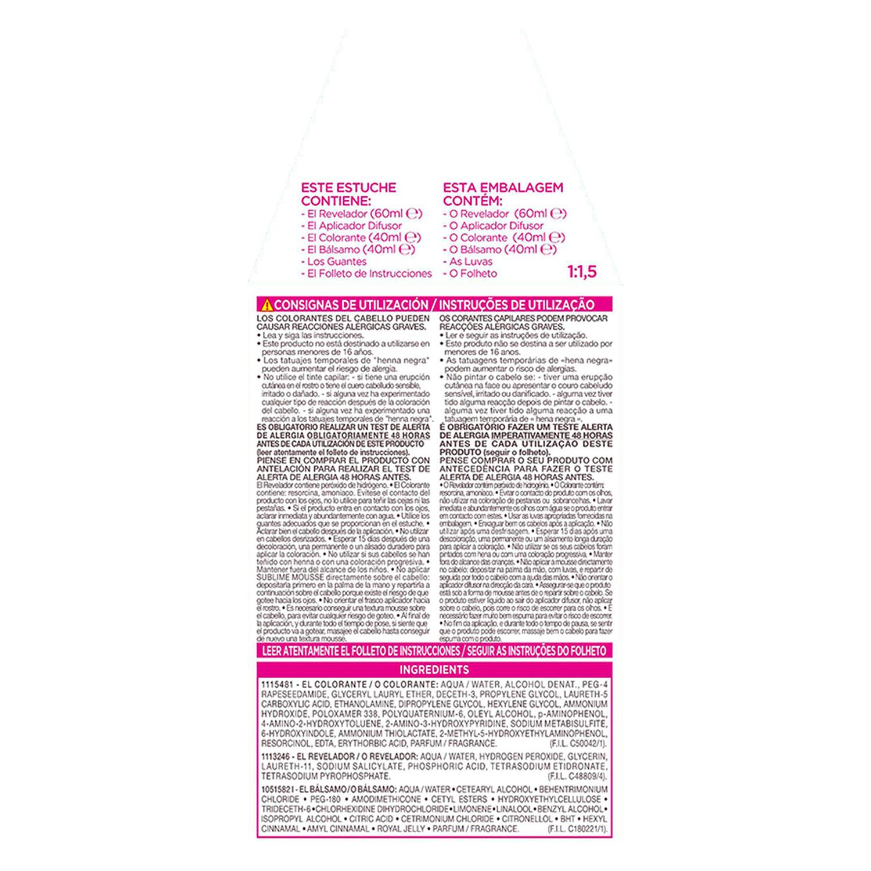 Tinte nº 740 Cobrizo Ardiente L'Oréal Sublime Mousse 1 ud. - 3