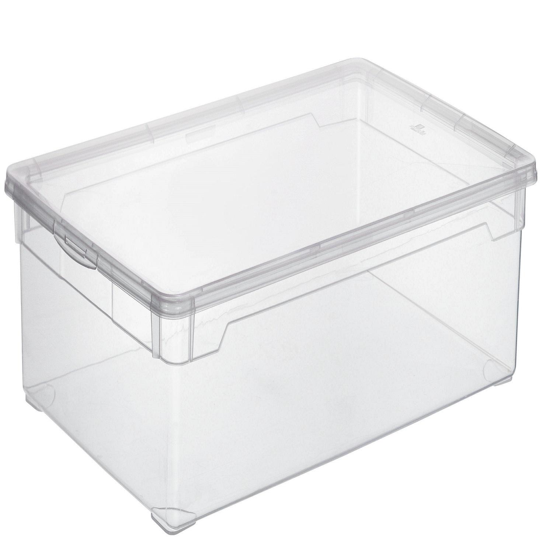 Caja con tapa de pl stico basic 30 litros transparente for Cajas de plastico transparente