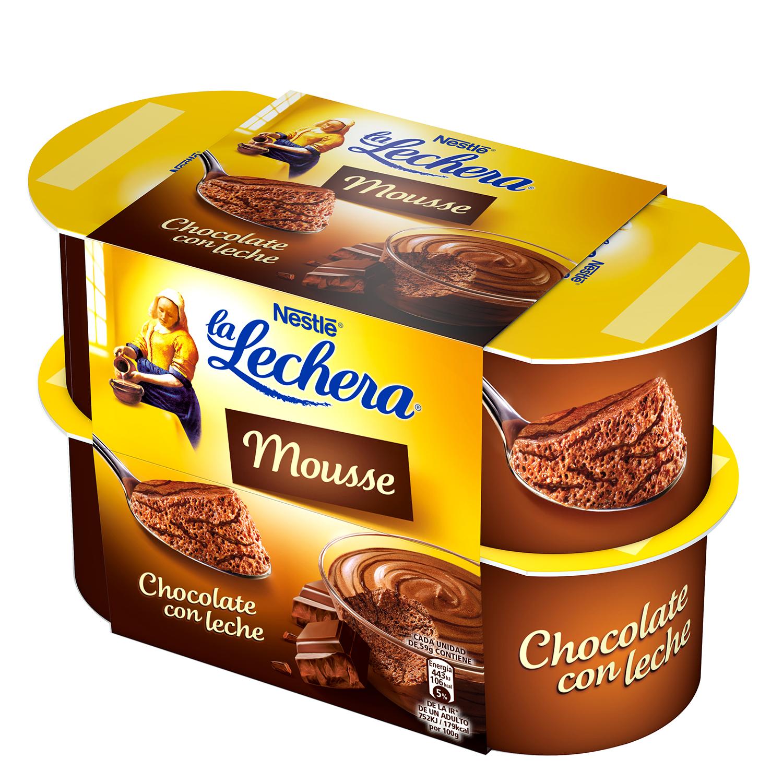 Mousse de chocolate con leche Nestlé - La Lechera pack de 4 unidades de 59 g.