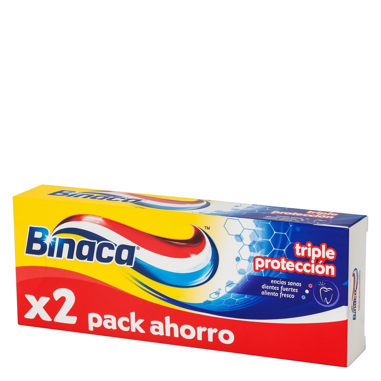 Dentífrico Triple Protección Duplo Binaca pack de 2 unidades de 75 ml.