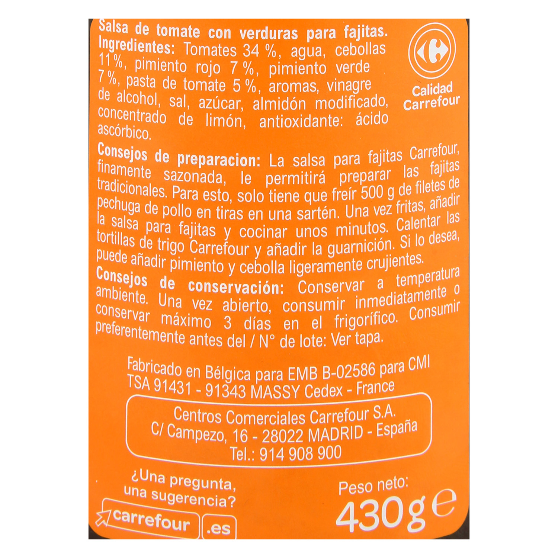 Salsa fajitas Carrefour tarro 430 g. -